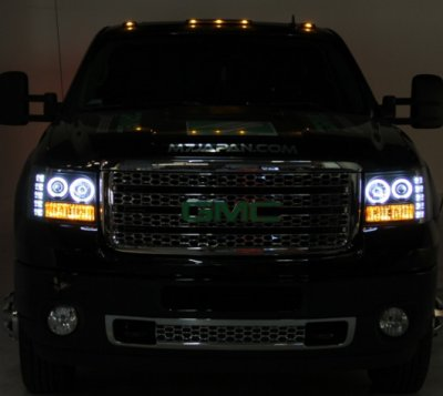 GMC Sierra 2007-2013 Black Halo Projector Headlights and LED Tail Lights