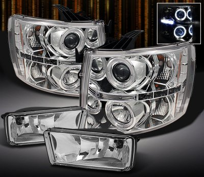 Chevy Silverado 3500hd 2007 2017 Clear Halo Projector Headlights And Fog Lights A103pwdn213 Topgearautosport