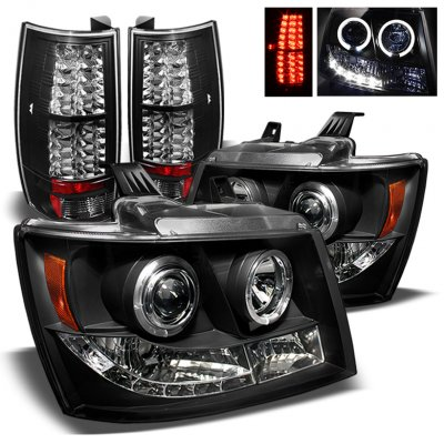 Chevy Tahoe 2007-2014 Black Halo Projector Headlights and LED Tail Lights