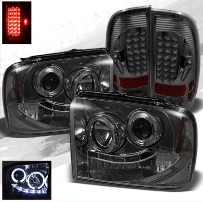 Ford F250 Super Duty 2005-2007 Smoked Projector Headlights and LED Tail Lights