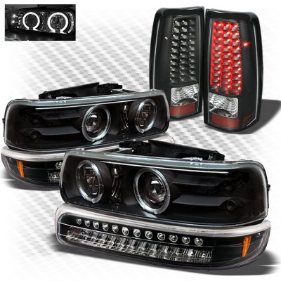 Chevy Silverado 1999-2002 Black Projector Headlights Bumper Lights and LED Tail Lights