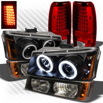 Chevy Silverado 2003 2006 Black Ccfl Halo Headlights Bumper Lights And Red Led Tail Lights