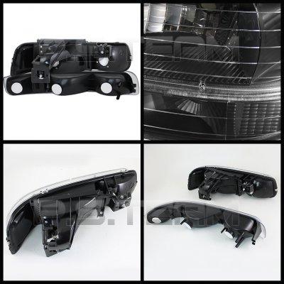 Chevy Silverado 1999-2002 Black Headlights Set and Smoked Fog Lights