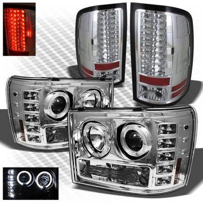 GMC Sierra 2007-2013 Chrome Halo Projector Headlights and LED Tail Lights