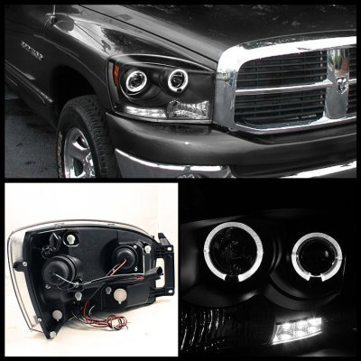 Dodge Ram 2500 2007 2009 Black Projector Headlights And Led Tail Lights