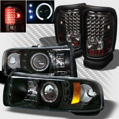 Dodge Ram 1994 2001 Black Projector Headlights And Led Tail Lights A103jkue213 Topgearautosport