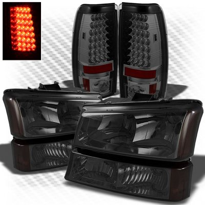 Chevy Silverado 2003-2006 Smoked Headlights Bumper Lights and LED Tail Lights