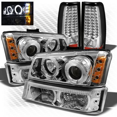 Chevy Silverado 2003-2006 Chrome CCFL Halo Headlights Bumper Lights and LED Tail Lights