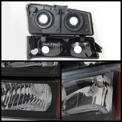 Chevy Silverado 2003-2006 Black Headlights Bumper Lights and Tail Lights
