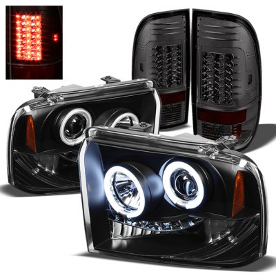 Ford F250 Super Duty 2005 2007 Black Ccfl Halo Headlights And Smoked Led Tail Lights A1034vbn213 Topgearautosport