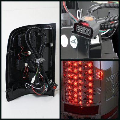 GMC Sierra 3500HD 2007-2014 Smoked Halo Projector Headlights and LED Tail Lights