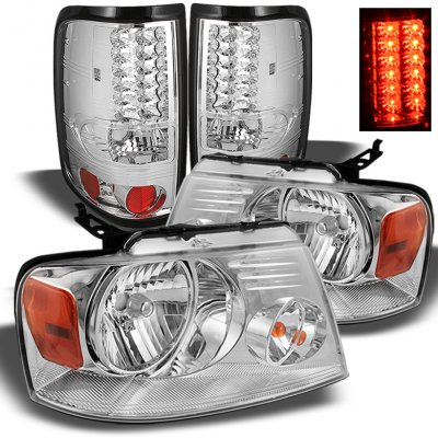 Ford F150 2004-2008 Chrome Headlights and LED Tail Lights
