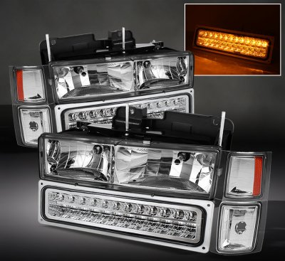 Chevy Silverado 1994-1998 Clear Euro Headlights and LED Bumper Lights