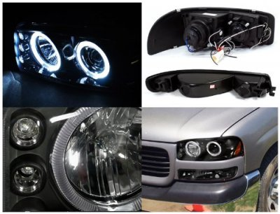 Gmc Sierra 2500 1999 2004 Black Halo Projector Headlights And Per Lights