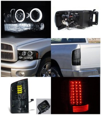 Dodge Ram 2500 2003 2005 Smoked Halo Headlights And Led Tail Lights