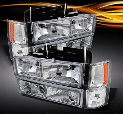Chevy Silverado 1994-1998 Clear Euro Headlights and Bumper Lights