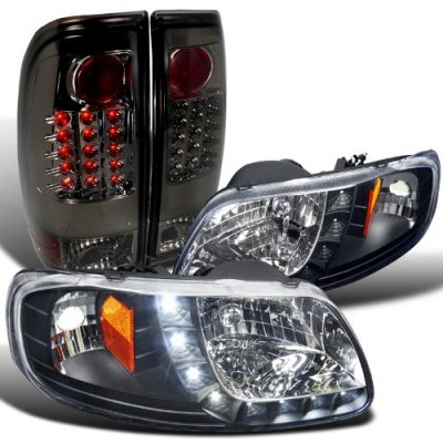 Ford F150 1997-2003 Black Headlights DRL and Smoked LED Tail Lights