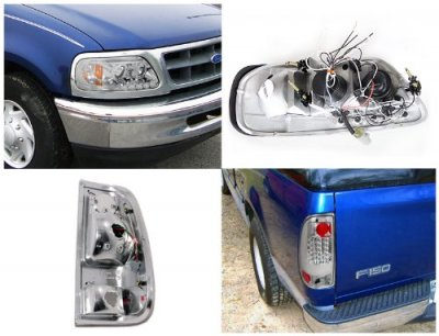 Ford F150 1997-2003 Chrome Halo Projector Headlights and LED Tail Lights