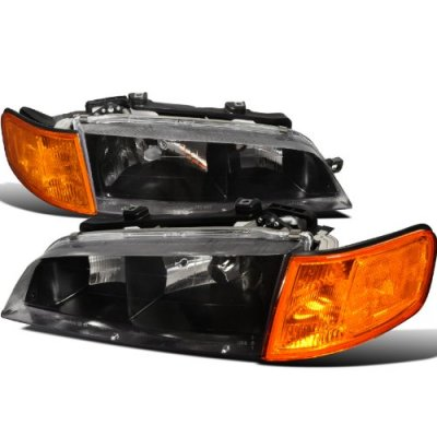 Honda Accord 1994-1997 Black Headlights and Amber Corner Lights Set