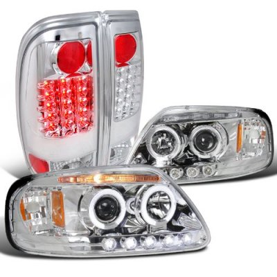 Ford Expedition 1997-2002 Chrome Halo Projector Headlights and LED Tail Lights