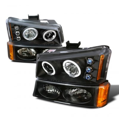Chevy Avalanche 2003-2005 Black Housing Projector Headlights and Bumper Lights