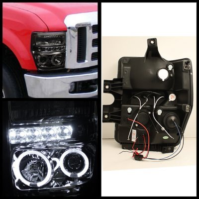 Ford F250 Super Duty 2008-2010 Smoked Halo Projector Headlights and LED Tail Lights