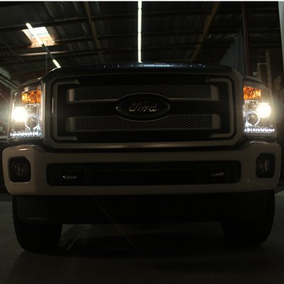 Ford F250 Super Duty 2011-2016 Smoked Halo Projector Headlights and LED Tail Lights