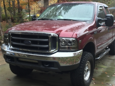 99 F350 Headlights >> Ford F250 Super Duty 1999 2004 Smoked Halo Projector Headlights And Led Tail Lights