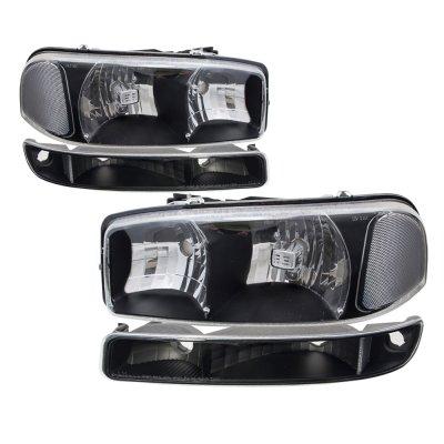GMC Yukon 2000-2006 Black Clear Headlights and Bumper Lights