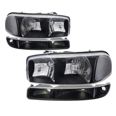 GMC Sierra 1500HD 2001-2007 Black Clear Headlights and Bumper Lights