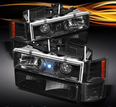 Gmc Sierra 1994 1998 Black Projector Headlights And Bumper