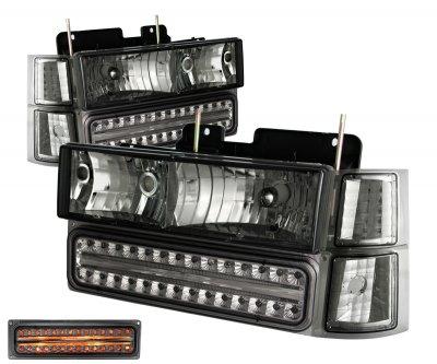 Chevy Silverado 1994-1998 Smoked Headlights and Bumper Lights