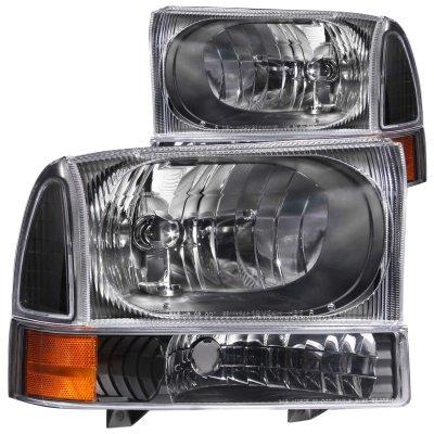 Ford F250 Super Duty 1999-2004 Crystal Headlights and Corner Lights Black