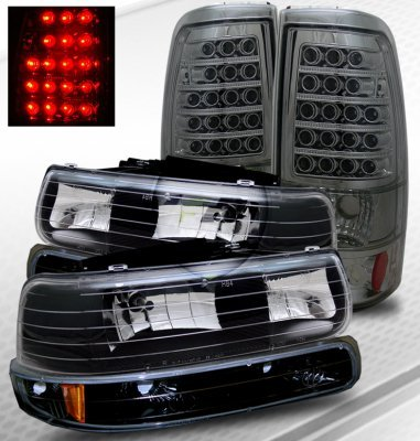 Chevy Tahoe 2000 2006 Black Headlights And Smoked Led Tail