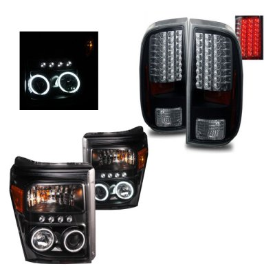 Ford F250 Super Duty 2011-2016 Black CCFL Halo Projector Headlights and LED Tail Lights