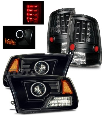 Dodge Ram 2009-2015 Black Halo Projector Headlights and LED Tail Lights