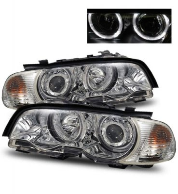 BMW 3 Series Coupe 1999-2001 Projector Headlights and Corner Lights Chrome Halo