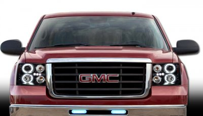 GMC Sierra 2007-2013 Black CCFL Halo Projector Headlights and LED Tail Lights