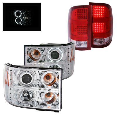 GMC Sierra 3500HD 2007-2014 Clear CCFL Halo Projector Headlights and LED Tail Lights