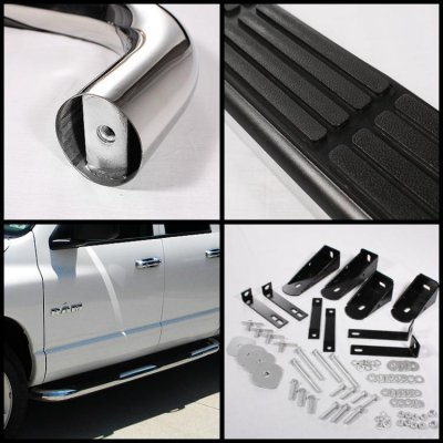 Dodge Ram 1500 Quad Cab 2002-2008 Nerf Bars Stainless Steel 3 Inches