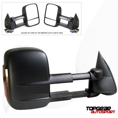 Chevy Avalanche 2002-2006 Black Power Heated Towing Mirrors with Turn Signal Lights