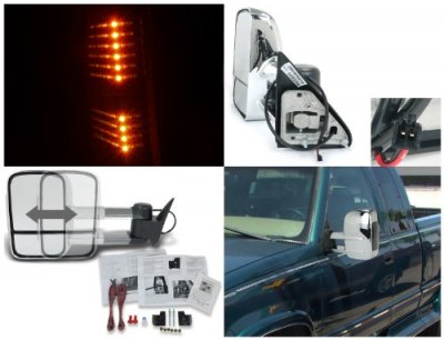 Chevy 2500 Pickup 1988-2000 Manual Towing Mirrors Chrome LED Signal Lights