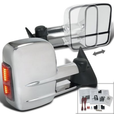 Chevy Silverado 1994-1998 Manual Towing Mirrors Chrome LED Signal Lights