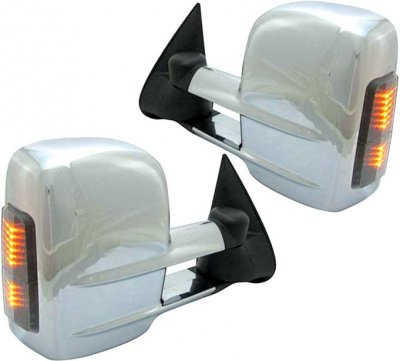 Chevy Silverado 1999-2002 Towing Mirrors Power Heated Chrome LED Signal Lights