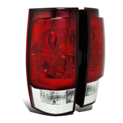 GMC Yukon 2007-2014 Red and Clear Tail Lights
