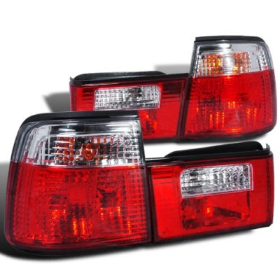 BMW 5 Series 1989-1995 Red and Clear Custom Tail Lights