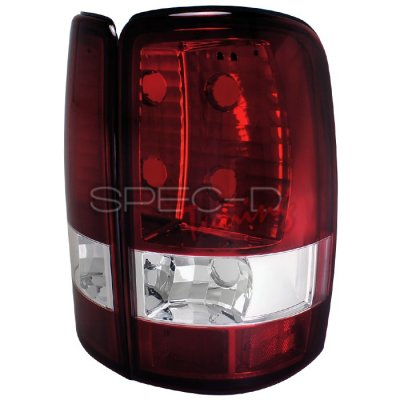 GMC Yukon XL 2000-2006 Red and Clear Tail Lights