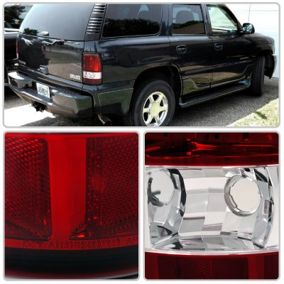 GMC Yukon 2000-2006 Red and Clear Tail Lights