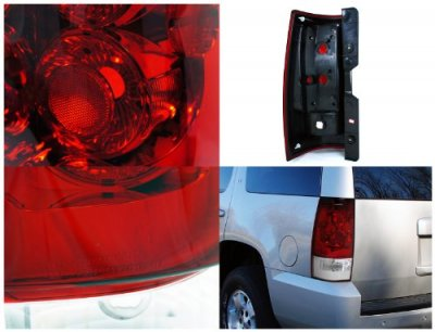 GMC Yukon XL 2007-2013 Red and Clear Tail Lights