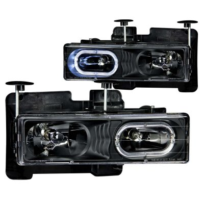 1999 Chevy Tahoe Halo Headlights Black